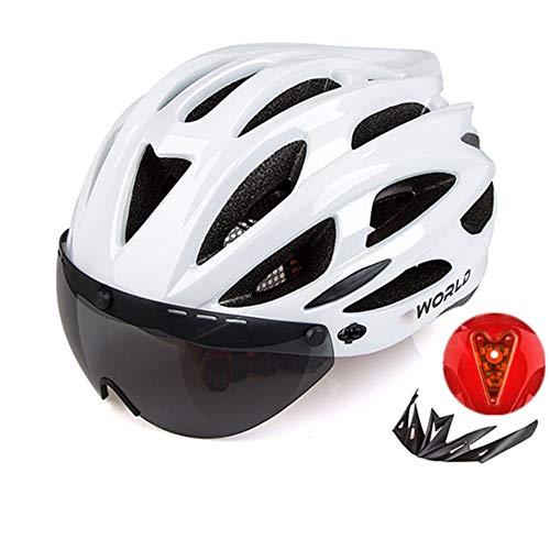 DaMuZ Casque de Vélo avec Visière Feu Arrière à LED De Sécurité Certifié CE Spécialisés Casque de VTT de Protection Ultraléger Montagne Et Route pour VTC Et VTT Adultes Hommes Et Femmes