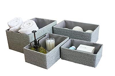 Storage Baskets Set 4 - Stackable Woven Basket Paper Rope Bin, Storage Boxes for Makeup Closet Bathroom Bedroom (Gray)