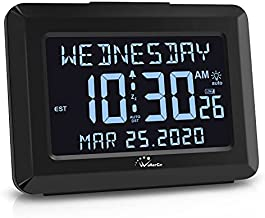 WallarGe Digital Alarm Clock for Bedroom - 7 Inch Autoset Backup Battery or USB Charger Operated Desk Clock with Calendar,Day and Second Large Digital Display,Auto Dimmer or DST Clocks for Seniors.