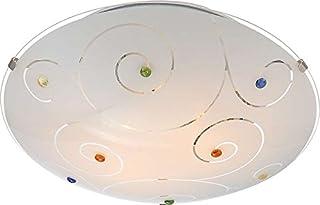 Lámpara de techo 2 focos plafón Dormitorio Lámpara de techo, cristal satinado piedras multicolor (Luz, lámpara de salón, Piso, redondo, 30 cm de diámetro x altura 8 cm, Capacidad 2 x E27)