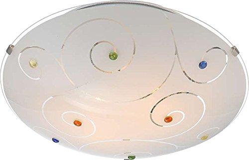 Deckenlampe 2 flammig Deckenleuchte Schlafzimmer Lampe Glas satiniert Steine bunt (Deckenlicht, Deckenstrahler, Wohnzimmer Leuchte, Flur, rund, Durchmesser 30 cm x Höhe 8 cm, Fassung 2 x E27)