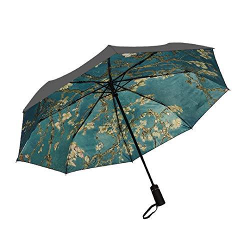 Mdsgfc girasoles pintura al óleo paraguas automático para las mujeres creativo portátil 3 pliegues UV paraguas a prueba de viento paraguas automático paraguas - 4