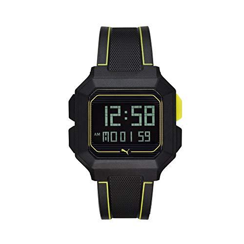 PUMA Remix LCD Schwarz Herrenuhr aus Polyurethan P5024
