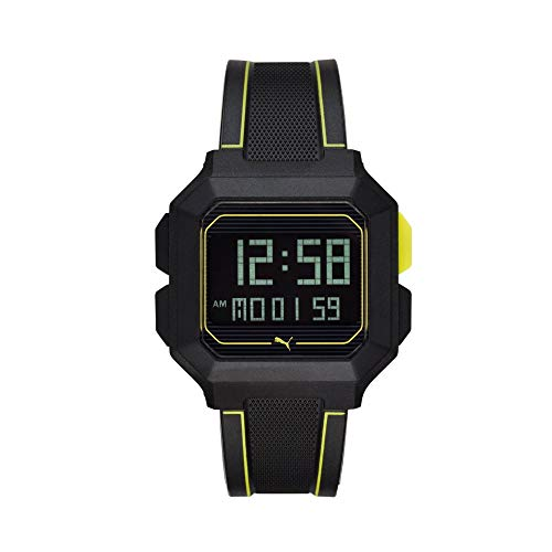 PUMA Reloj Remix LCD de Poliuretano Negro para Hombre P5024