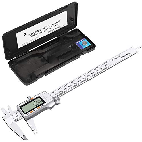 eSynic 200mm Digital Vernier Caliper 8 Inch Stainless Steel Digital Caliper Vernier Calipers with Fractions Inch Metric Conversion and a Large LCD Screen for Designers Engineers and Mechanics