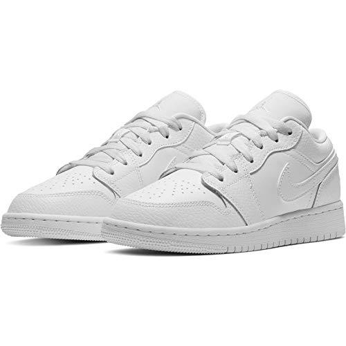 Nike Jungen AIR Jordan 1 Low (GS) Basketballschuh, weiß, 39 EU