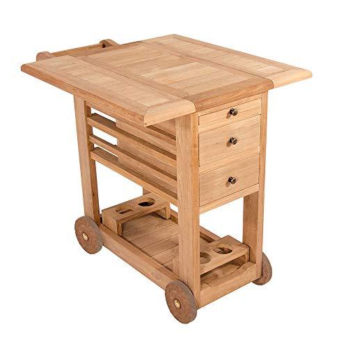 Servierwagen Milltown Teewagen Teakholz Küchenwagen Beistellwagen Beistelltisch Tisch