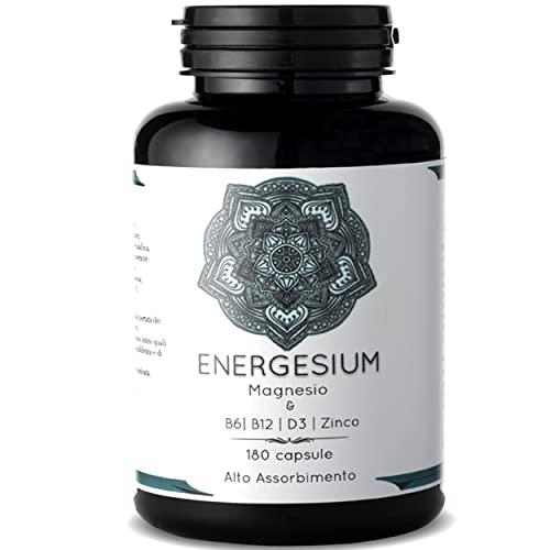 Magnesio Con Vitamina D, Zinco, B6 e vitamina b12  180 Capsule Ad Alto Assorbimento  411 Mg Di Magnesio Puro Citrato, Ossido e Sali Minerali   Integratore Multivitaminico Facile Da Ingerire Kolidur