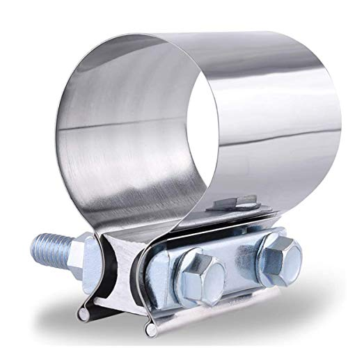 SPEEDWOW 2.0 Inch Butt Joint Exhaust Clamp Band Coupler Sleeve Stainless Steel