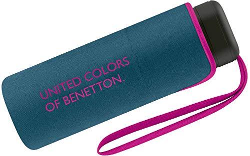 Benetton - Paraguas de bolsillo, pequeño, plano y...
