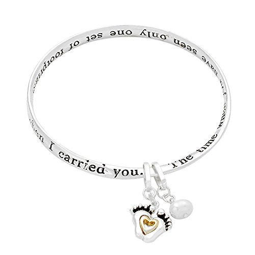 """Lola Bella Gifts """"Footprints in The Sand Bangle Bracelet with Prayer Card and Gift Box"""