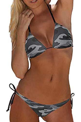 Fanvans Traje De Baño Piezas De Camuflaje Militar con Parte Inferior De Bikini Triangular para Mujer CArmy XL