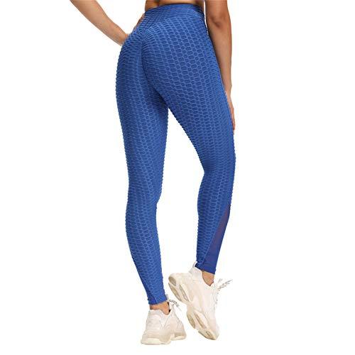 Mujeres Pantalones De Yoga De Cintura Alta Leggings De Entrenamiento para Correr Sexy Color Sólido Medias De Fitness,Azul,XL