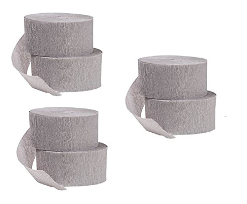 Gray Crepe Paper Streamers, 6 Rolls Made in USA