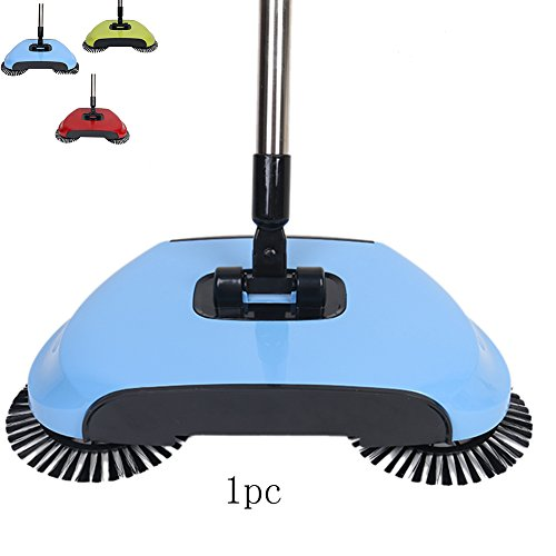 Hand Push Sweeper Broom Rotating Hand-Push Dual Pinsel Haushalt Reinigung ohne Strom Dustpan Trash Bin3 Farben (blau)