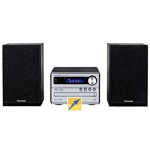 Panasonic SC-PM250B Micro HiFi(mit CD,UKW/DAB+, Bluetooth, 20 Watt RMS) Silber & Wicked Chili DVBT2 HD/DVBT Digitale Fernseh/Radio Antenne für TV/PC (Verstärkung: 6dBi / Kabellänge: 300 cm) schwarz