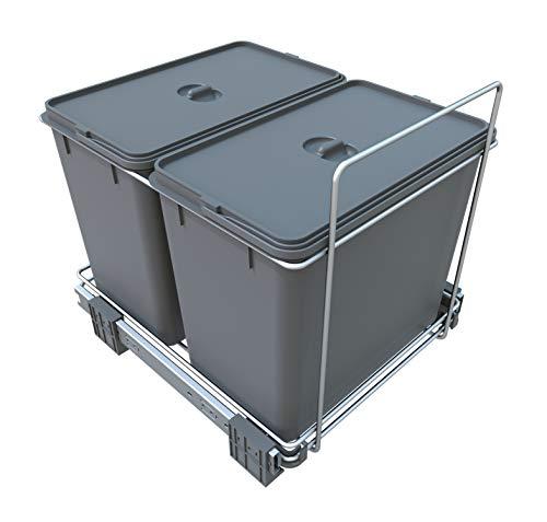 FELOMODE ECOFIL PF02A - Cubo de basura para recogida selectiva de residuos, base extraíble, (2 x 18 l, 34 x 46 x 31 cm)