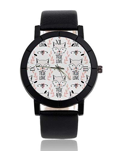 Fox True Love Reloj personalizado personalizado casual correa de cuero negro reloj de pulsera para hombres mujeres unisex relojes