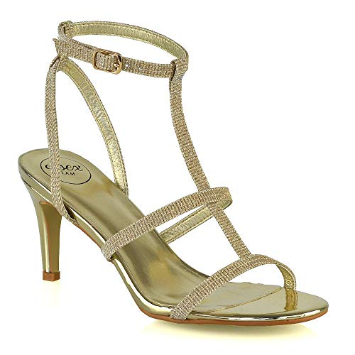 Womens Mid Heel Sandals Ladies Gold Strappy Low Stiletto Heel Ankle Strap Open Toe Caged Bridal Party Shoes 8 B(M) US