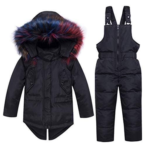 DTZW Kinderskibekleidung, Kinder Daunenjacke Jungen Und Mädchen Daunenjacke Winddicht wasserdichte Skijacke + Hose Black-100cm