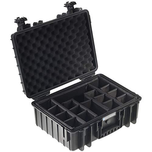 B&W Transportkoffer Outdoor Typ 5000 schwarz mit variabler Facheinteilung - wasserdicht nach IP67 Zertifizierung, staubdicht, bruchsicher und unverwüstlich
