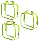 3 AZi TSA Approved Toiletry Bag Crystal Clear w Zipper Green Handle 3-1-1 Carry On Airport Airline Compliant Bag Stadium Travel Cosmetic Makeup First Aid Medication Charger Organizer Gym School Locker