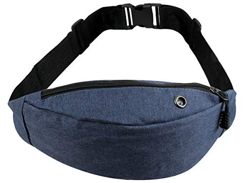 Gürteltasche Bauchtasche Hipbag Bum Bag mit Reißverschluss Loch Design - Größe verstellbar, Damen & Herren Unifarben von Alsino (GT-290 blau)