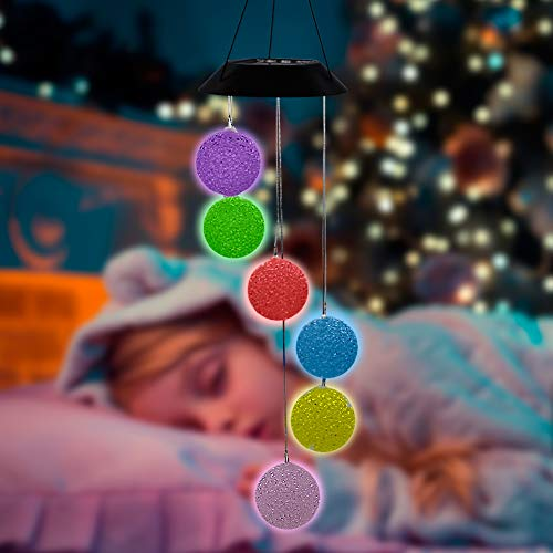 MorTime Solar Crystal Ball Wind Chime, Color Changing Mobile LED Solar Wind Chime Outdoor Mobile Hanging Patio Light, Porch, Deck, Garden Decor (2PC)