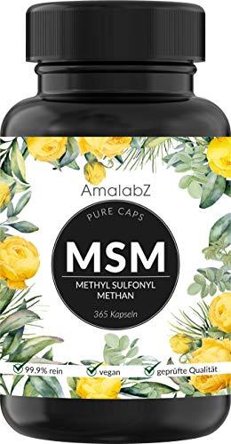 MSM Kapseln - 365 vegane Kapseln - Laborgeprüft - 1600mg Methylsulfonylmethan (MSM) Pulver pro Tagesdosis (800mg je Kapsel) - Ohne Magnesiumstearat, hochdosiert, hergestellt in Deutschland
