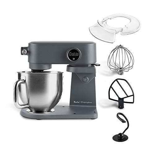 Küchenmaschine Karla 800W, 5,2 L Edelstahl Rührschüssel, Knetmaschine mit Planetenrührwerk inkl. Teighaken, Rührbesen, Schneebesen und Spritzschutz - Anthrazit