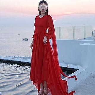 V-neck Retro Trailing Long-Sleeved Elegant Beachside Holiday Dress High Quality (Color : Red, Size : XXL)