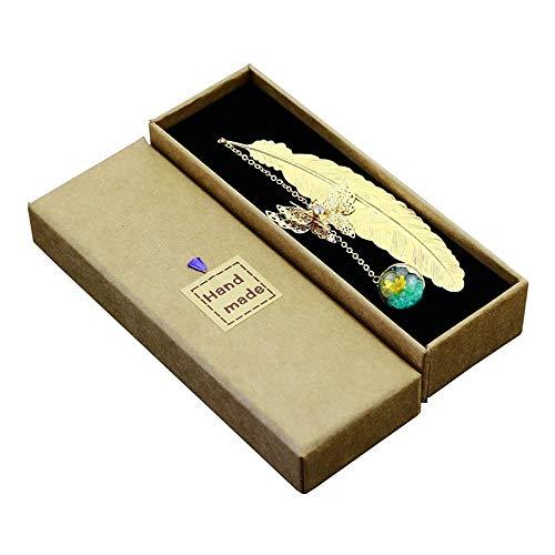 Selcouthlie Segnalibri con Piume con Farfalla 3D e Perle di Vetro Pendenti con Fiori Secchi Segnalibri con Fiori Blu e Gialli con Piume Dorate