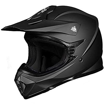 ILM Adult ATV Motocross Dirt Bike Motorcycle BMX MX Downhill Off-Road MTB Mountain Bike Helmet DOT Approved (Matte Black, Adult-M)