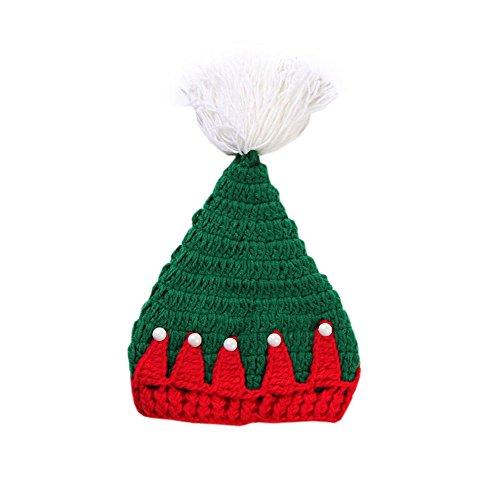 DELEY Unisexe Bébé de Noël Costume Crochet Tricoté Beanie Hat Vêtements Bébé Tenue de Photo Accessoires de 0 à 6 Mois