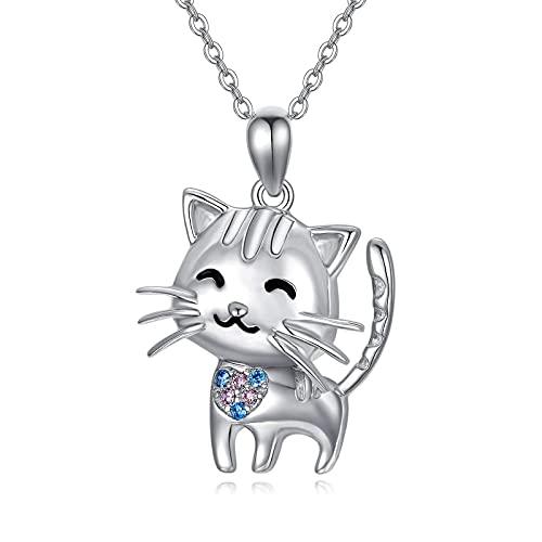 Cadena de gato de plata de ley 925 con colgante de gato, joya para niños, mujeres y niñas