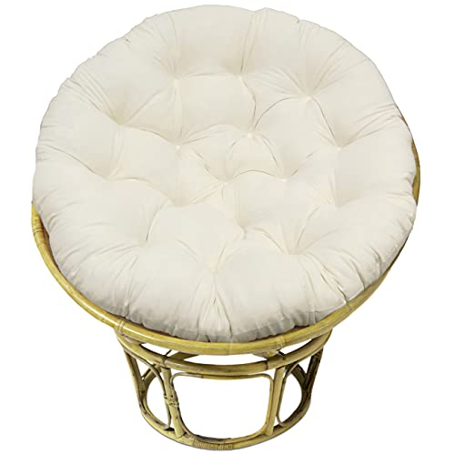 COTTON CRAFT Papasan - Classic Ivory - Overstuffed Chair Cushion, Sink into Our Thick Comfortable and Oversized Papasan, Pure Cotton Duck Fabric, Fits Standard 45 inch Round Chair