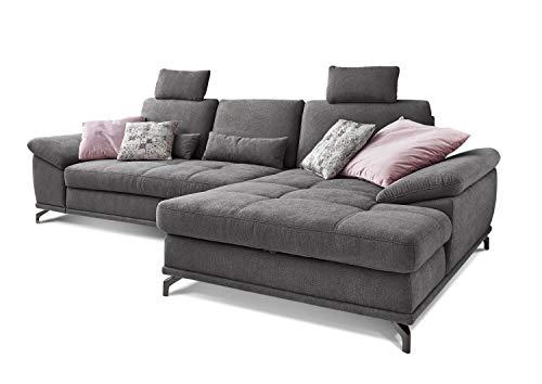 Cavadore Ecksofa Castiel mit Federkern, großes Sofa in L-Form mit Sitztiefenverstellung, Kopfstützen und XL-Longchair, 312 x 114 x 173, Webstoff, grau