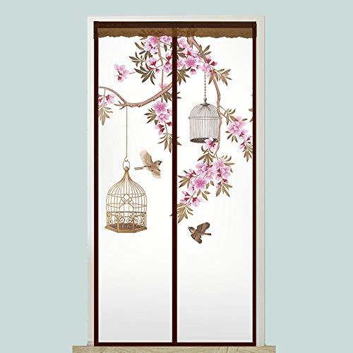 CHOUE Vogelmuster Plissee Balkontür 80x200cm / 31x78inches Mosquito Guard Schützen Sie Baby & Familie Vor Insekten Und Insekten,Ohne Bohren