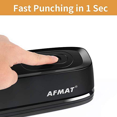 3 Hole Punch, AFMAT Electric Three Hole Punch Heavy Duty, 20-Sheet Punch Capacity, AC or Battery Operated Paper Punch, Effortless Punching, Long Lasting Paper Puncher for Office School Studio, Black Photo #3