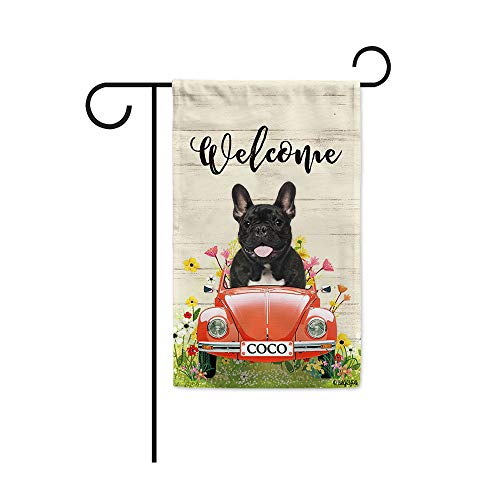 BAGEYOU Custom Name Welcome Spring Dog Garden Flag Cute French Bulldog Driving a Vintage Car Summer Flowers and Lawn Decor Home Banner for Outside 12.5x18 Inch Print Both Sides