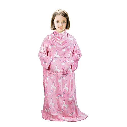 Viviland Tragbare Kinderdecke mit Ärmeln, Fußtasche, Känguru-Tasche, Kinder-Jungen-Mädchen-Decke, weiche, warme, leichte Decke für Kinder, Flanell, rosa Einhorn, 120 x 138 cm