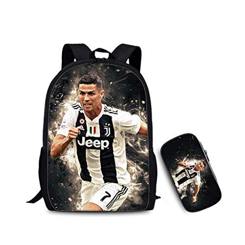 ULIIM Kinder Cristiano Ronaldo Rucksäcke Mode Kinder Schultasche Top Fußbälle Sterne Jungen Mädchen Hohe Kapazität Leinwand Reise Schulranzen (2 Stück)