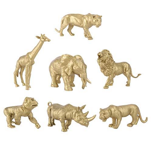 TOYANDONA 7 Figuras de Animales Dorados Estatuas de Elefante Jirafa Y Rinoceronte Set de Estatuas de Resina para Decoración de Escritorio de Oficina en Casa
