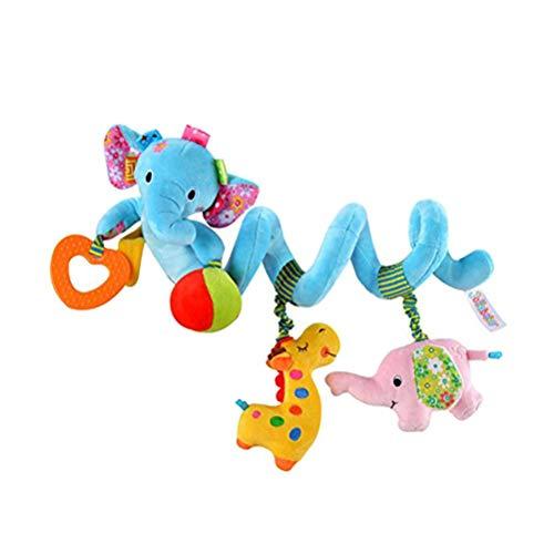 Cochecito de bebé bebé lindo diseño de elefante azul actividad espiral juguetes de peluche, cochecito y actividad de viaje, juguete colorido sonajero sonajero