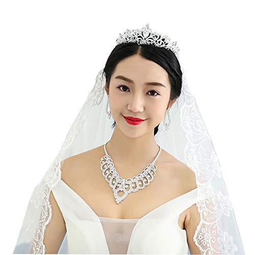 Serdokntbig Bridal Wedding Crystal Rhinestone Design Accessory Sparkle Heart W/Flower Bridal Tiaras Necklace Clip Earring Sets