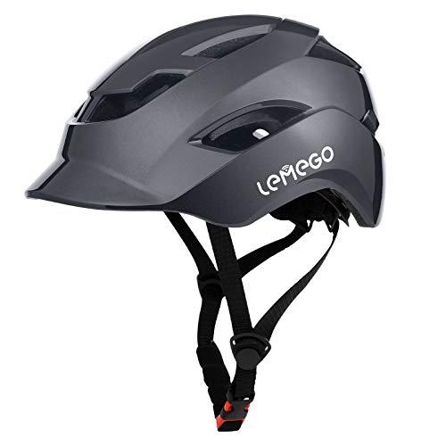 LEMEGO Casco Bicicleta Ciclismo para Adulto - Cascos Bici Ajustable Montaña con Certificado CE Luz Trasera Seguro y Visera, Helmet Ligero al Aire Libre para Multi-Deporte Carretera Esquí Skateboard