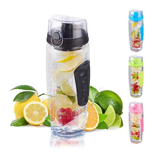 Relaxdays Trinkflasche mit Obsteinsatz, BPA-frei, auslaufsicher, 900ml, Detox Flasche Infused Water, mit Tasche, schwarz 25 x 8,5 x 8,5 cm