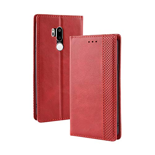 Coque LG G7 ThinQ Hebilla magnetica Patrón Vintage Carcasa de telefono para LG G7 ThinQ(Rojo)