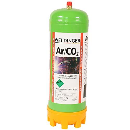 110 bar Einwegflasche 2 Liter Mischgas 80% Argon 20% CO2 (220 Liter Schweißgas für MAG-Schweißen)