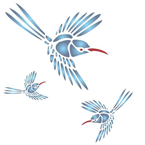 Kolibri Schablone–wiederverwendbar großen Garten Vogel Spring Wandbild Wand Schablone–Vorlage, auf Papier Projekte Scrapbook Tagebuch Wände Böden Stoff Möbel Glas Holz etc, L